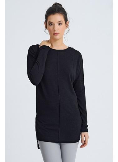 Jument Alba Kayık Yaka Dikişli Yan Yırtmaçlı Tunik Siyah
